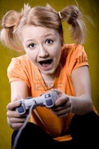 Meisje speelt een game